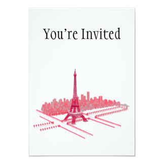 Bosquejo moderno de la torre Eiffel de París Invitación 12,7 X 17,8 Cm