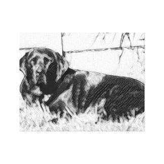 Bosquejo negro del labrador retriever impresión en lienzo