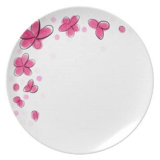 Bosquejo negro y rosado del lunar de la flor de la platos