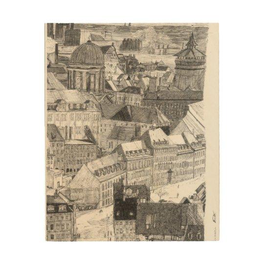 Bosquejo Nürnberg motivo, Alemania de Ballen 1996 Impresión En Madera