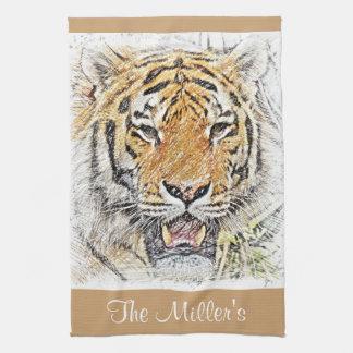 Bosquejo salvaje del tigre - tema del safari - paño de cocina