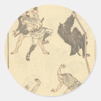 Bosquejos de los artes marciales japoneses, Ninja Pegatina Redonda