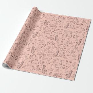 Bosquejos del papel de embalaje mate del rosa de