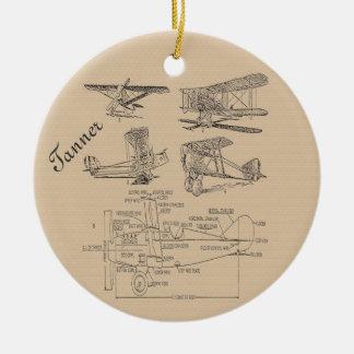 Bosquejos personalizados del aeroplano del vintage adorno navideño redondo de cerámica