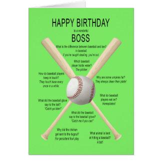 Boss, chistes del béisbol del cumpleaños tarjeta de felicitación