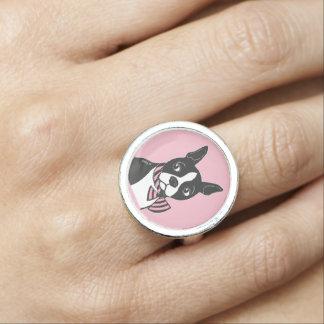 Boston Terrier con el anillo del rosa de la