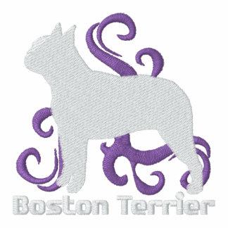 Boston tribal Terrier Sudadera Bordada Con Cremallera De Mujer