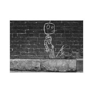 Bot en la pared lienzo envuelto para galerías