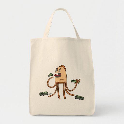Bot hambriento - tote del ultramarinos bolsa de mano