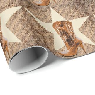 bota de vaquero del país occidental de la moda de papel de regalo