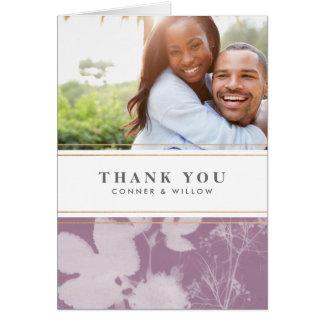 Botánico gracias tarjeta de la foto, boda, púrpura
