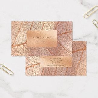 Botánico metálico de cristal de oro del melocotón tarjeta de negocios