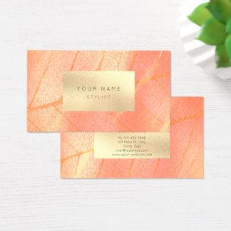 Botánico metálico del melocotón de oro de la sepia tarjeta de negocios