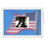 Botas de combate, bandera de los E.E.U.U., graduac Tarjetón