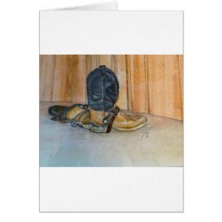 Botas de vaquero con los estímulos tarjeta de felicitación