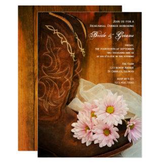 Botas de vaquero rosadas de las margaritas que invitación 12,7 x 17,8 cm