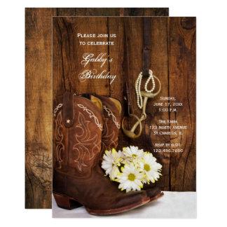 Botas de vaquero y fiesta de cumpleaños del país invitación 12,7 x 17,8 cm