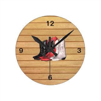 Botas del país de la CAMISETA Reloj Redondo Mediano