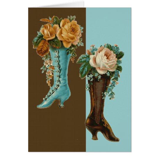 Botas florales del Victorian Tarjeta De Felicitación