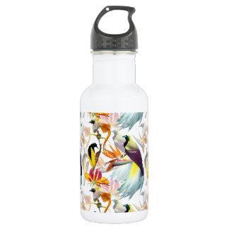 Botella De Agua Acuarela exótica de las aves del paraíso y de las