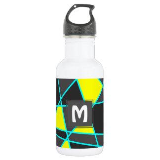 Botella De Agua amarillo de neón brillante geométrico elegante y