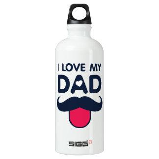 Botella De Agua Amo mi icono lindo del bigote del papá