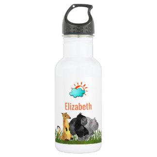Botella De Agua Animales lindos de la selva del safari de la