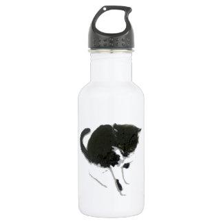 Botella De Agua Arte blanco y negro del gato