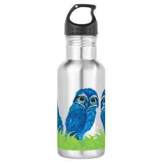 Botella De Agua Arte de madriguera azul y verde caprichoso del