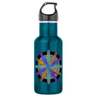 Botella de agua azul con diseño geométrico moderno