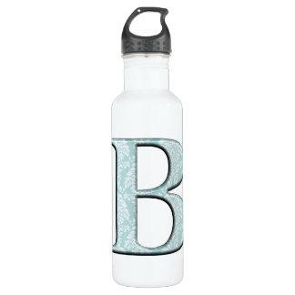 Botella de agua azul de las iniciales del