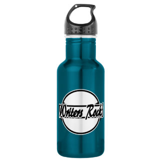 Botella De Agua Blanco del negro del logotipo del círculo de la