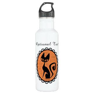 Botella De Agua Camafeo del gato negro de Halloween