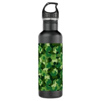 Botella De Agua Camuflaje geométrico del bosque