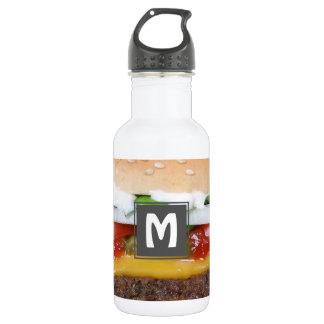 Botella De Agua cheeseburger delicioso con la fotografía de las