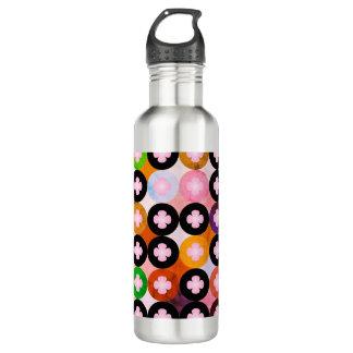Botella De Agua Círculos coloreados multi frescos y tréboles