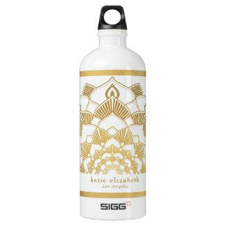 Botella De Agua Cordón de moda de la mandala del oro con nombre y