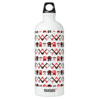 Botella De Agua Cráneo cómico con el modelo colorido cruzado de