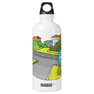 Botella de agua de las direcciones de conducción