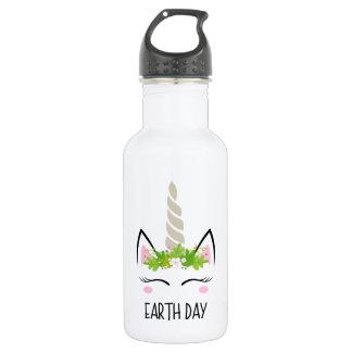 Botella De Agua Día de la Tierra del unicornio