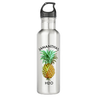 Botella De Agua Ejemplo del vintage de la piña