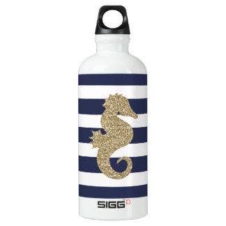 Botella De Agua El blanco de la marina de guerra del Seahorse del