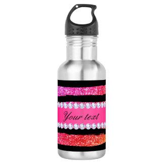Botella De Agua El brillo de neón del falso arco iris raya negro