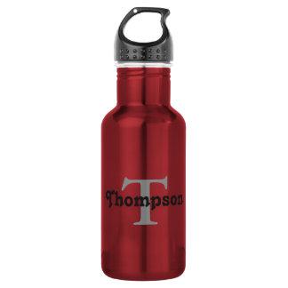 Botella De Agua El rojo clásico personaliza el texto negro del