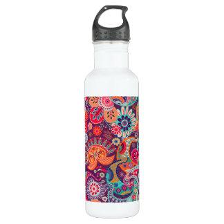 Botella De Agua Estampado de flores de neón rosado de Paisley