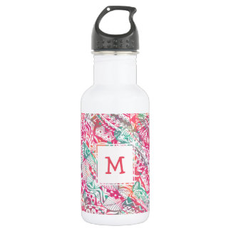 Botella De Agua estampado de flores tribal rosado dibujado mano