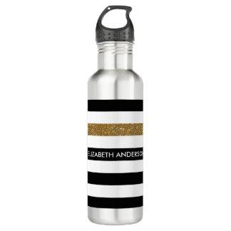 Botella De Agua FALSO Glitz y nombre del oro de las rayas negras