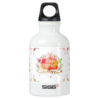 Botella De Agua Felices Navidad retras de la acuarela