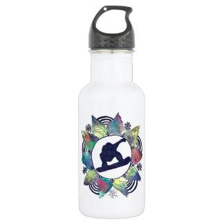 Botella De Agua Flor de la montaña del Snowboarder