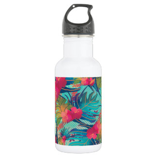 Botella de agua floral tropical de la acuarela